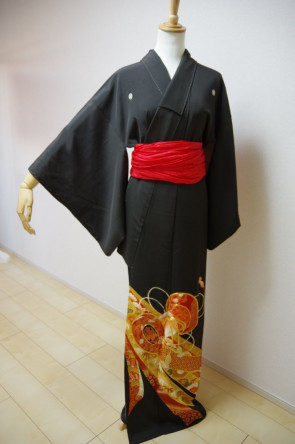 KIMONO DRESS JAPAN VINTAGE TRADITIONAL JAPANESE COSTUME USED KDJM-A0047