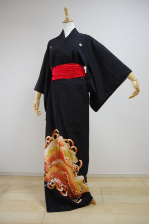 KIMONO DRESS JAPAN VINTAGE TRADITIONAL JAPANESE COSTUME USED KDJM-A0212