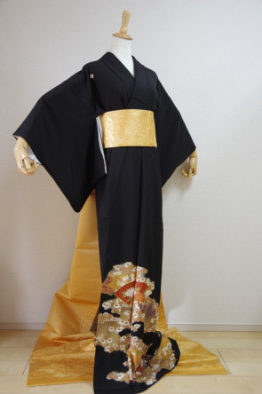 KIMONO DRESS JAPAN VINTAGE TRADITIONAL COSTUME USED KDJM-A04088