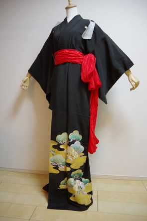 KIMONO DRESS JAPAN VINTAGE TRADITIONAL JAPANESE COSTUME USED KDJM-A0438